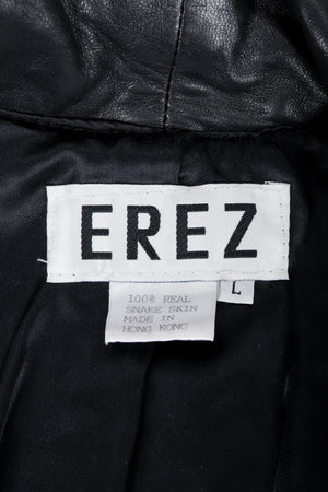 Vintage Erez label on black lining