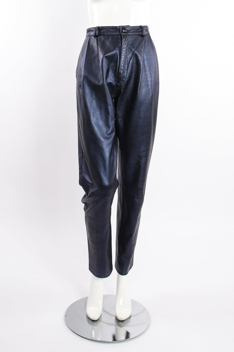 Vintage Erez Metallic Pleated Leather Pant on Mannequin front at Recess Los Angeles