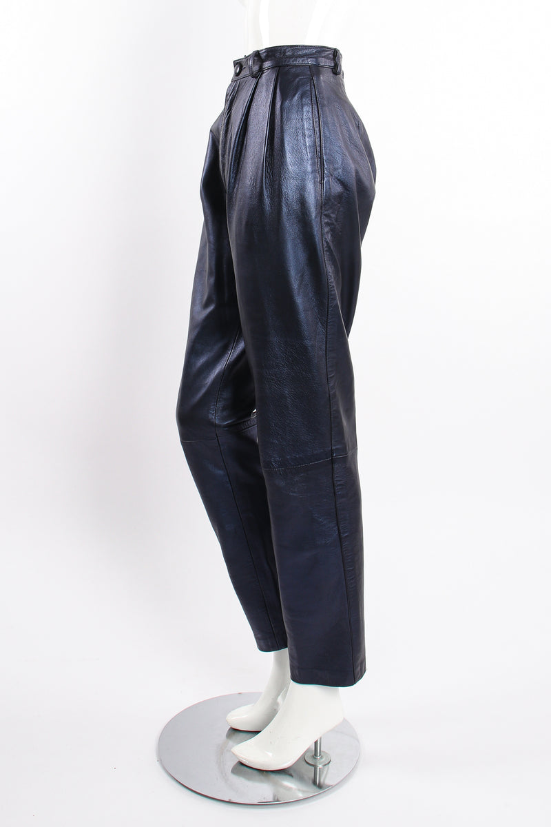 Vintage Erez Metallic Pleated Leather Pant on Mannequin side at Recess Los Angeles