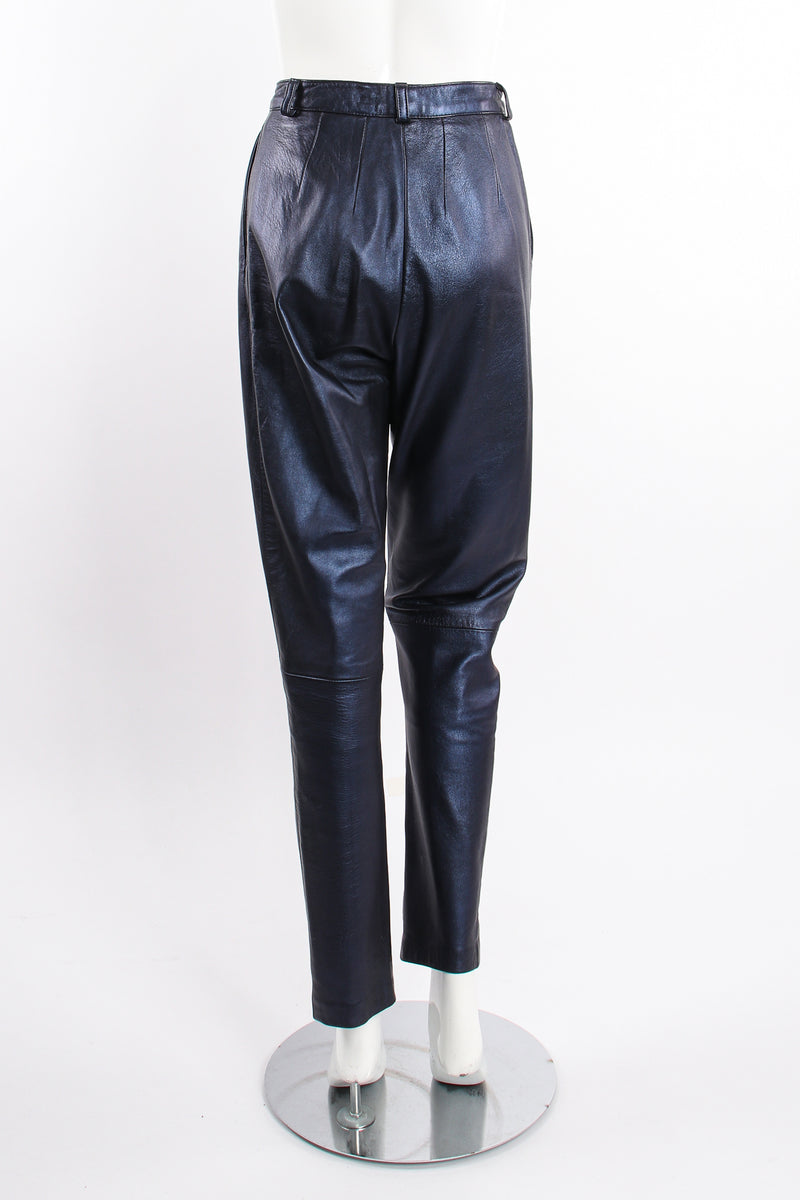 Vintage Erez Metallic Pleated Leather Pant on Mannequin back at Recess Los Angeles