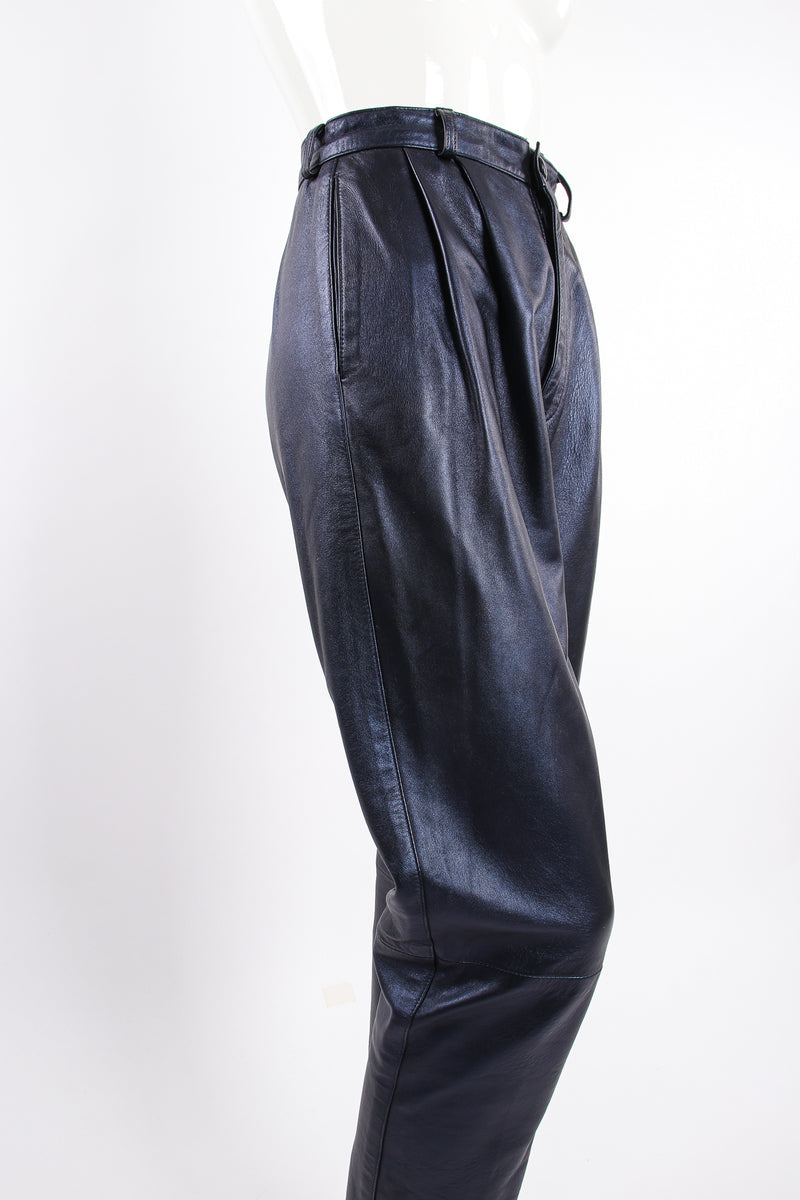 Vintage Erez Metallic Pleated Leather Pant on Mannequin angle at Recess Los Angeles