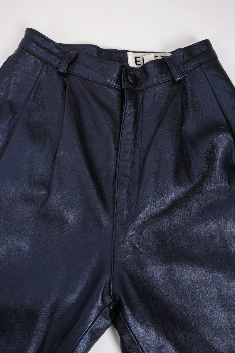 Vintage Erez Metallic Pleated Leather Pant waistband at Recess Los Angeles