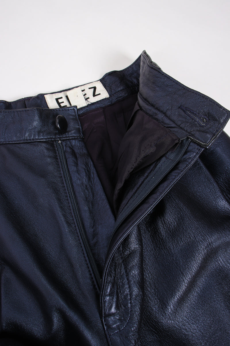 Vintage Erez Metallic Pleated Leather Pant fly at Recess Los Angeles