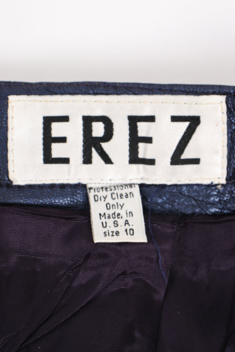 Vintage Erez Metallic Pleated Leather Pant label at Recess Los Angeles