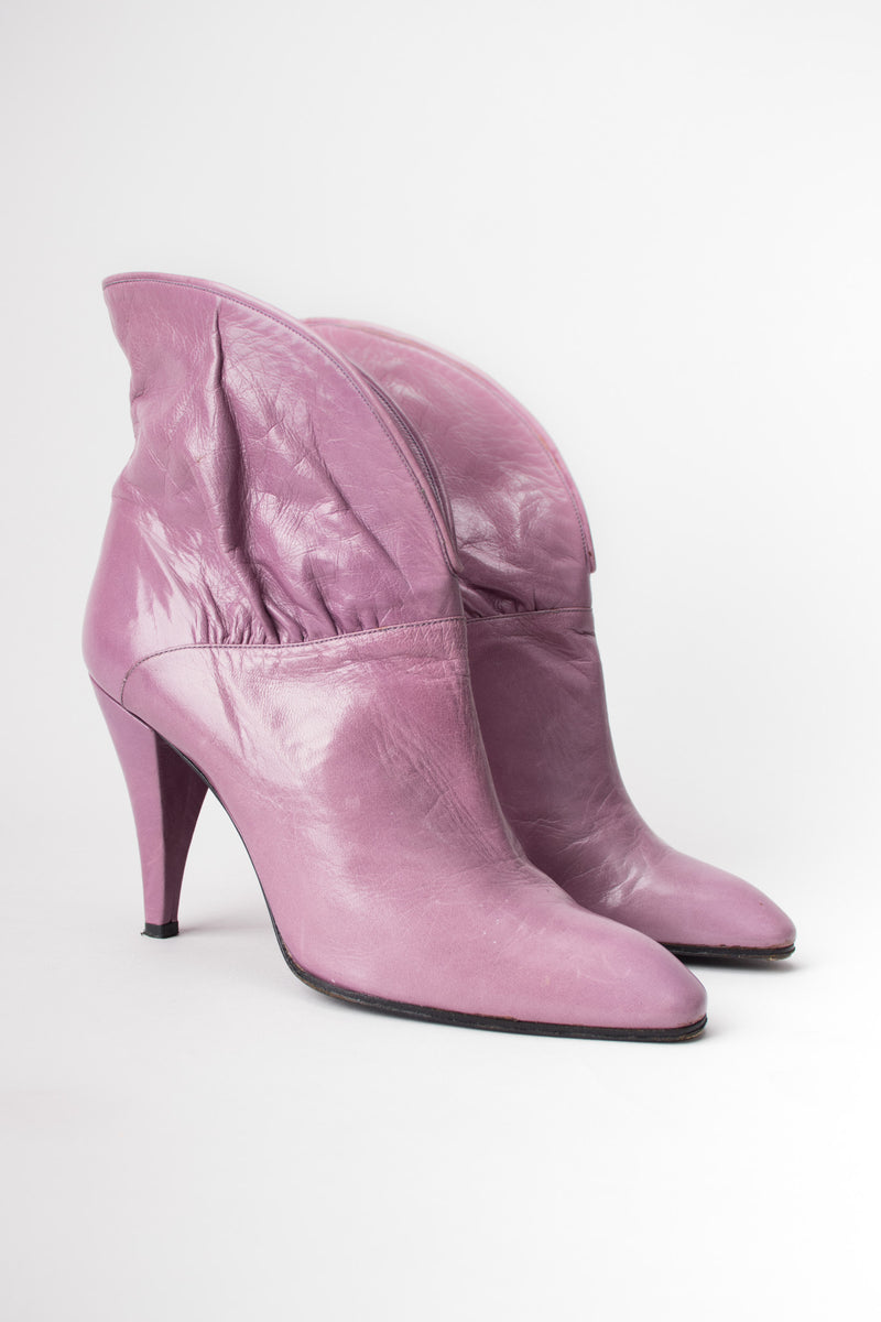Erik's Shoes Lilac Purple Cuffed Collar Ankle Boots Booties
