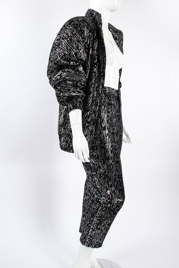 Vintage Ero Foiled Suede Bomber Jacket & Pant Set on Mannequin angle at Recess Los Angeles