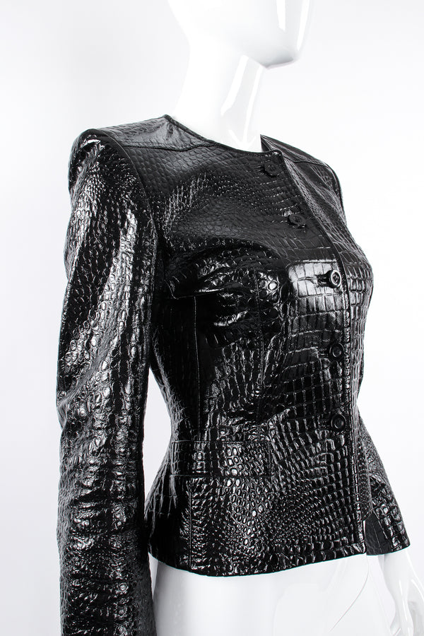 Vintage Escada Patent Leather Embossed Gator Jacket on Mannequin angle at Recess Los Angeles