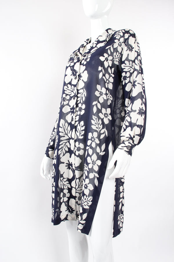 Vintage Escada Aloha Sheer Silk Chiffon Duster on Mannequin angle at Recess Los Angeles