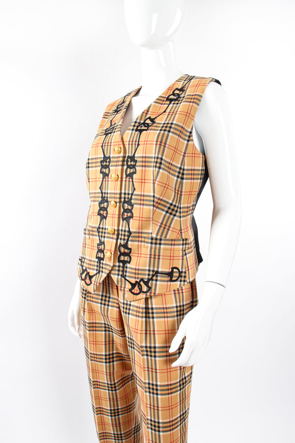 Vintage Escada Plaid Horsebit Vest & Pant Set on Mannequin crop at Recess Los Angeles