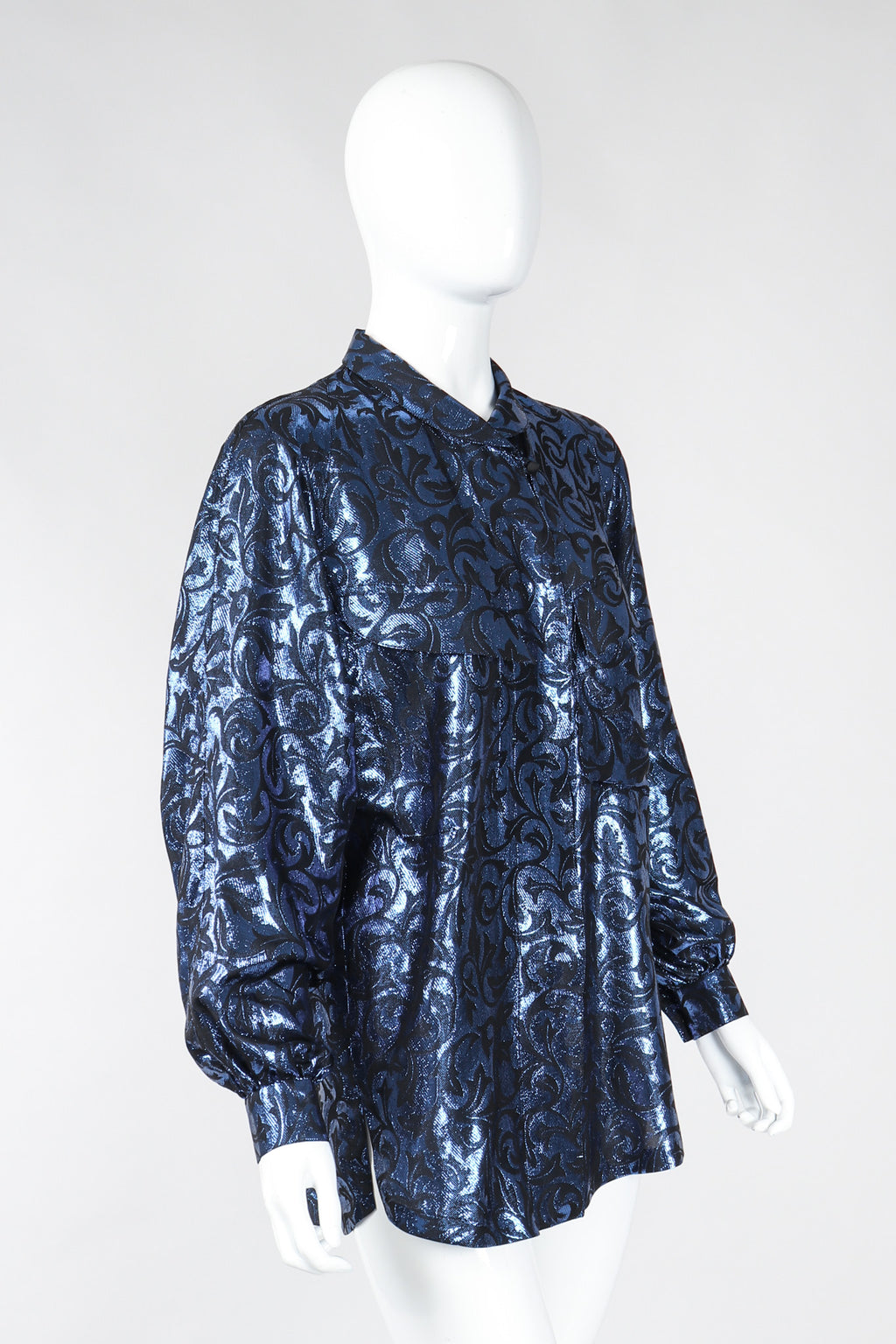 Recess Los Angeles Vintage Escada Metallic Lamé Damask Pajama Pyjama Blouse