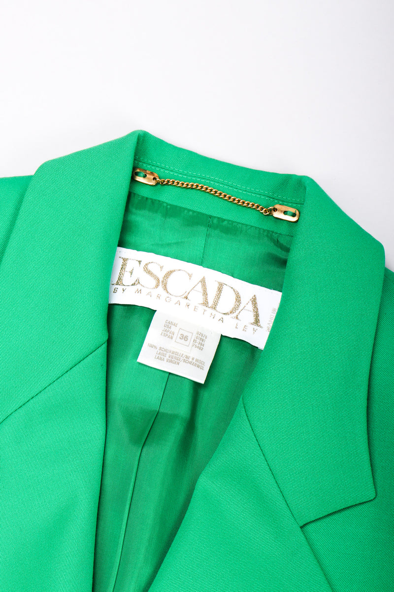 Recess Los Angeles Vintage Escada Wool Double Breasted Kelly Green Jacket Black Plastic Buttons