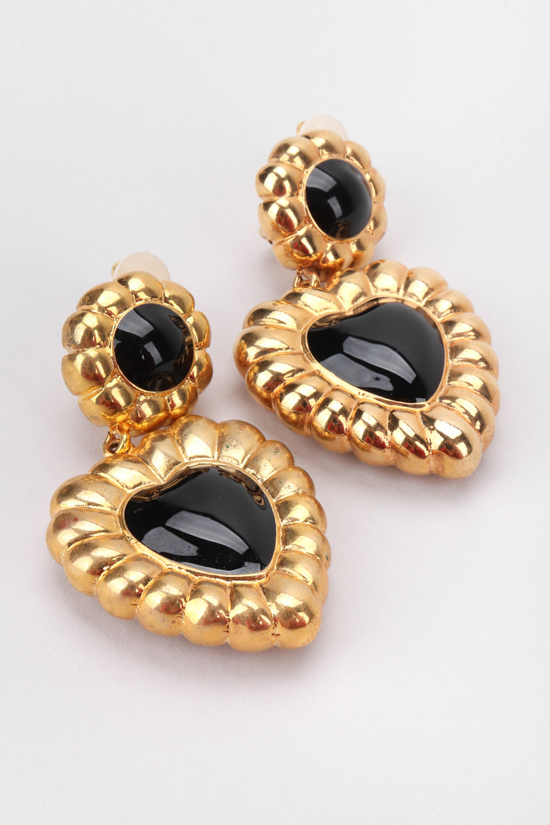 Recess Los Angeles Vintage Escada Fluted Gold Heart Drop Earrings