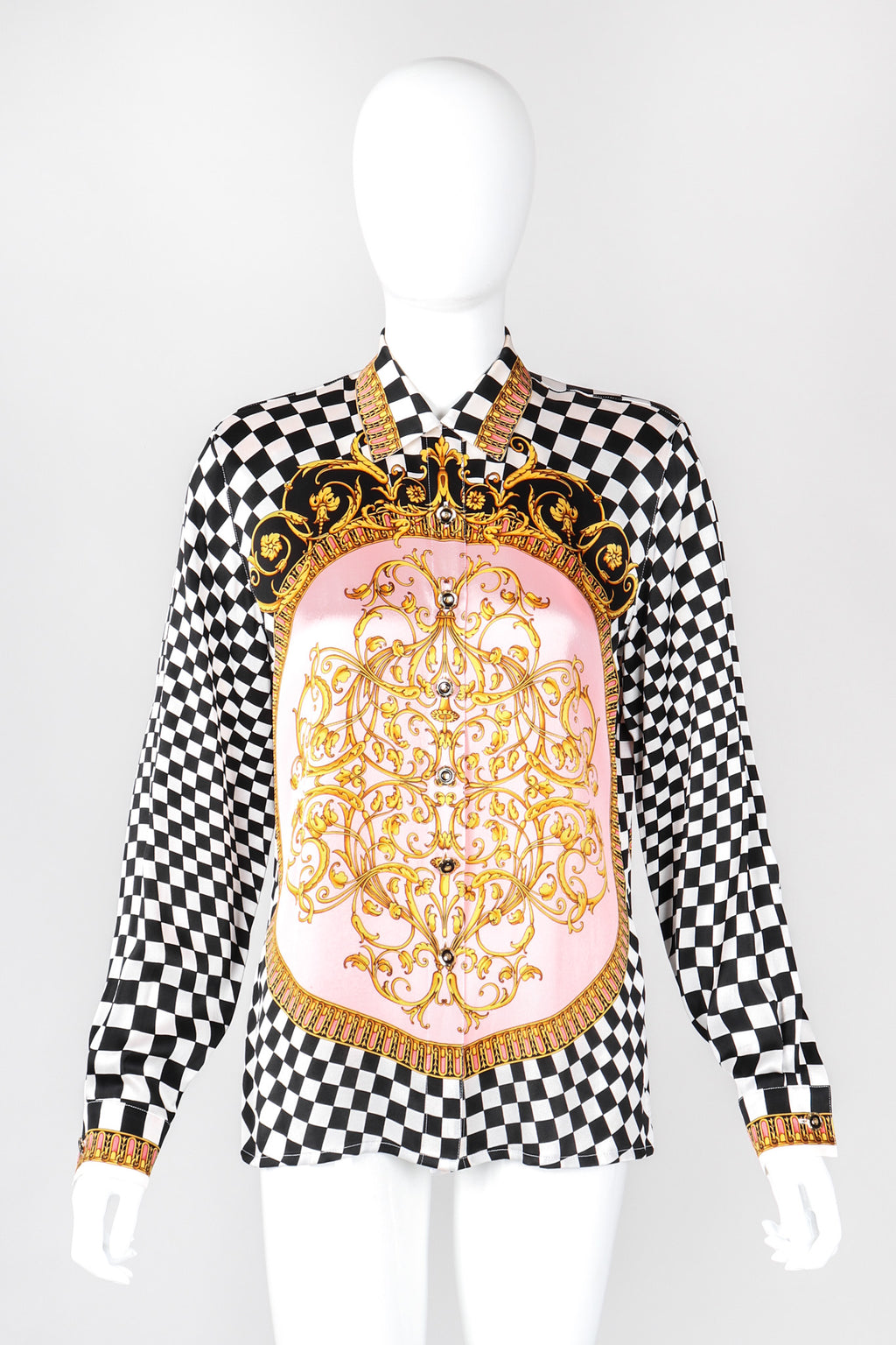 Recess Los Angeles Vintage Escada Checkered Baroque Versace Print Silk Shirt