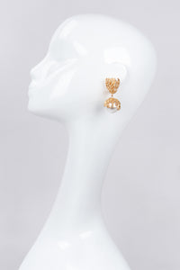 Recess Los Angeles Vintage Escada Branch Coral Pearl Drop Earrings