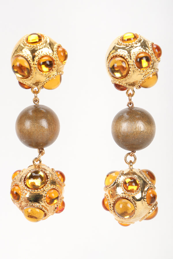 Recess Designer Consignment Vintage Escada Polished Ball Drop Wood Bead Statement Earrings Los Angeles Resale