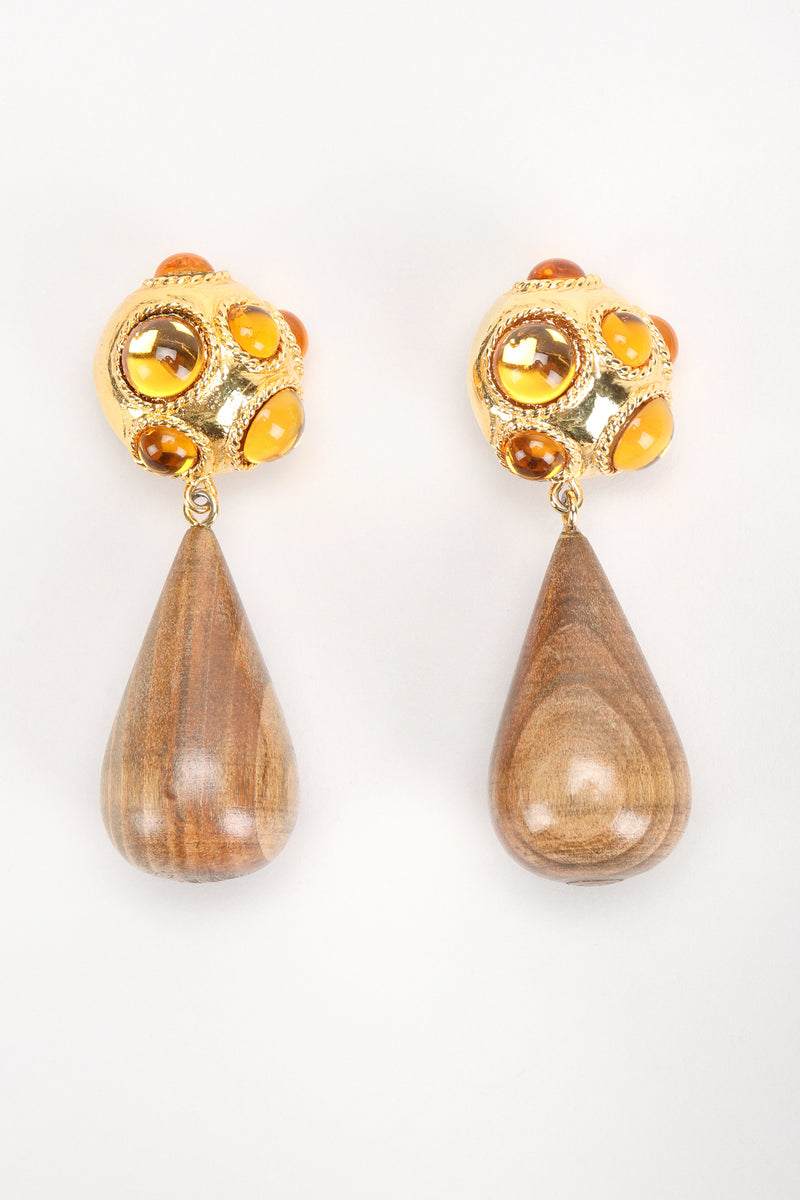 Recess Designer Consignment Vintage Escada Jeweled Wooden Teardrop Statement Earrings Los Angeles Resale