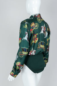 Vintage Escada Horse & Carriage Print Silk Surplice Bodysuit on Mannequin, Back Angle