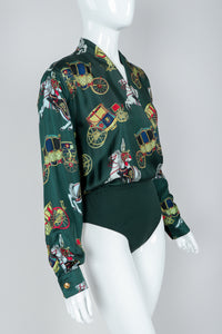 Vintage Escada Horse & Carriage Print Silk Surplice Bodysuit on Mannequin, Front Angle