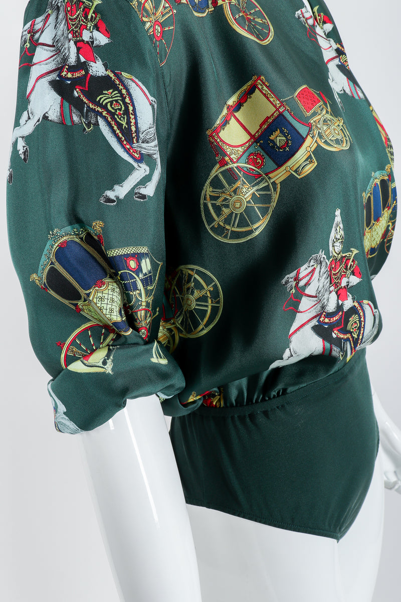 Vintage Escada Horse & Carriage Print Silk Surplice Bodysuit on Mannequin, waist