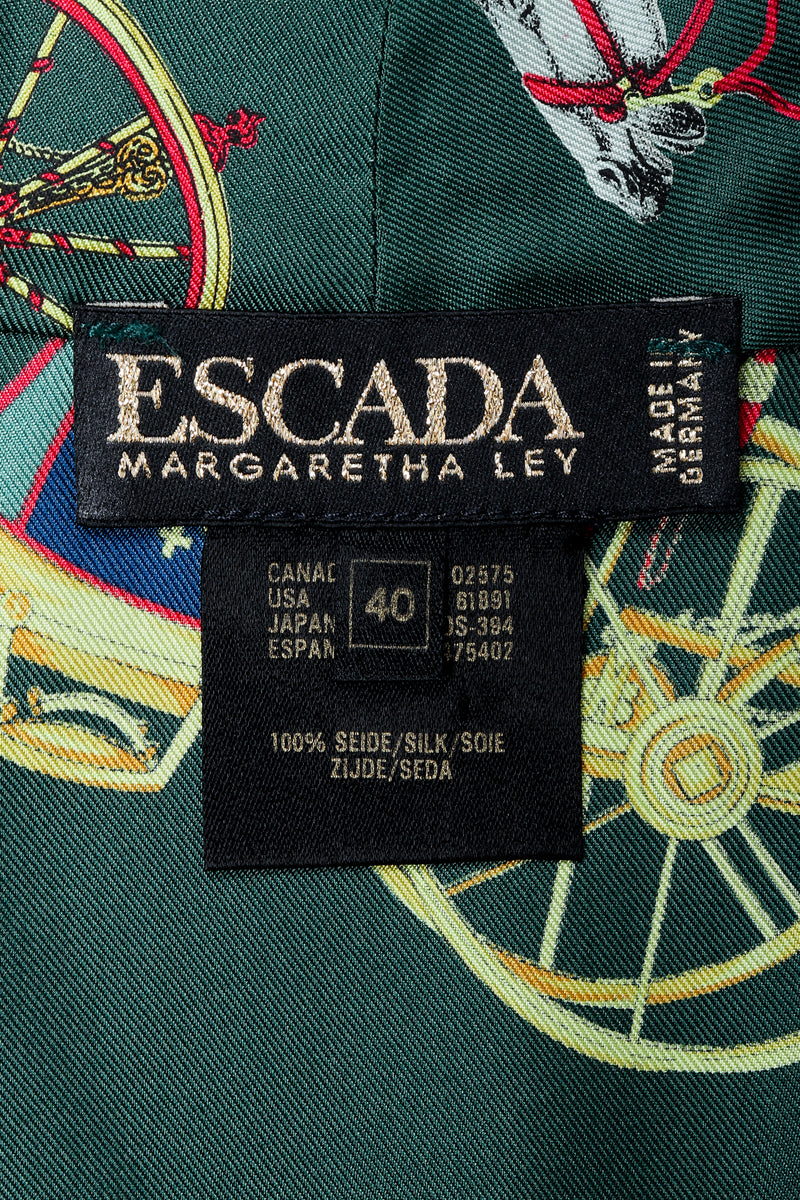 Vintage Escada label on green print silk