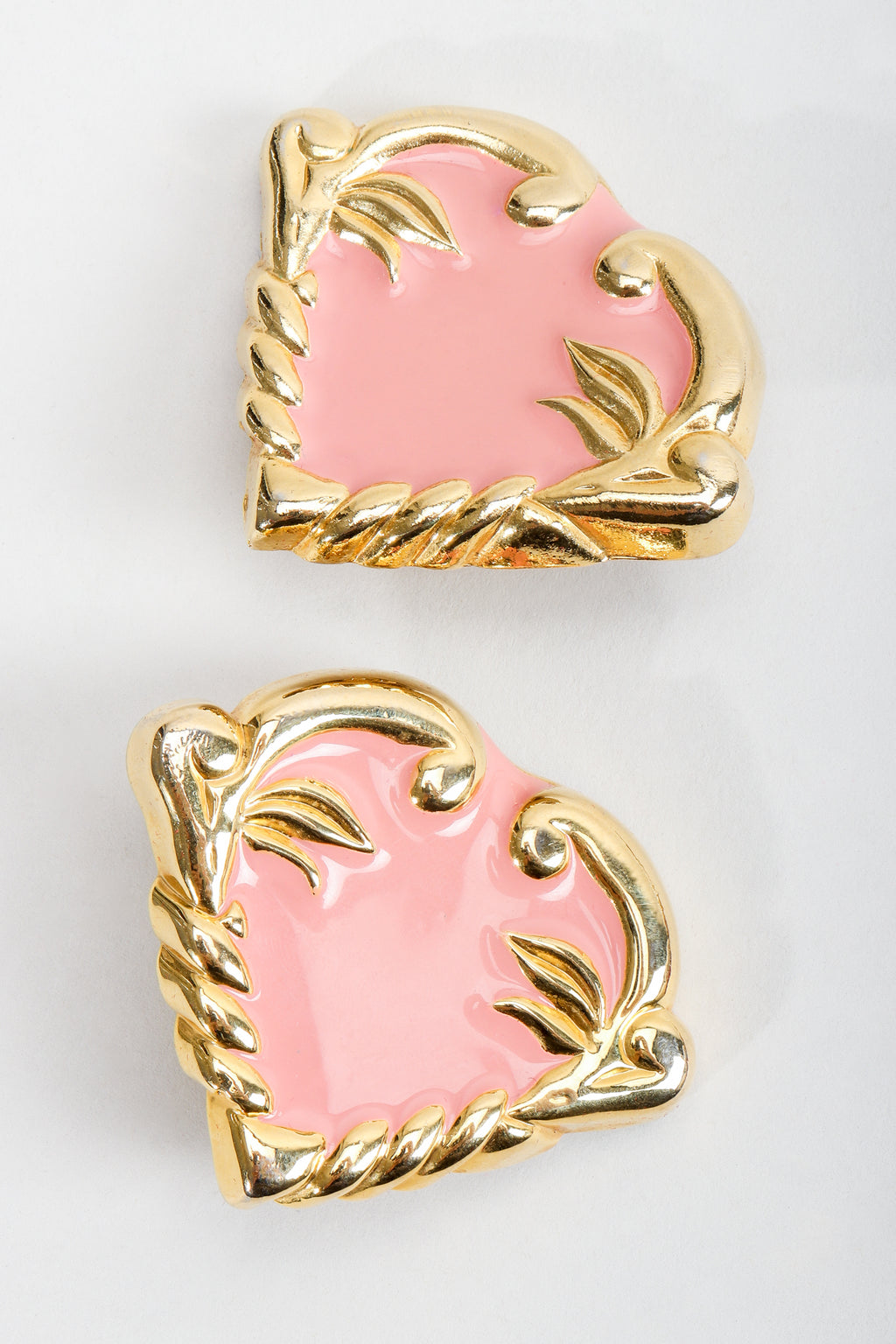 Vintage Escada Pink Enamel Heart Button Earrings at Recess Los Angeles