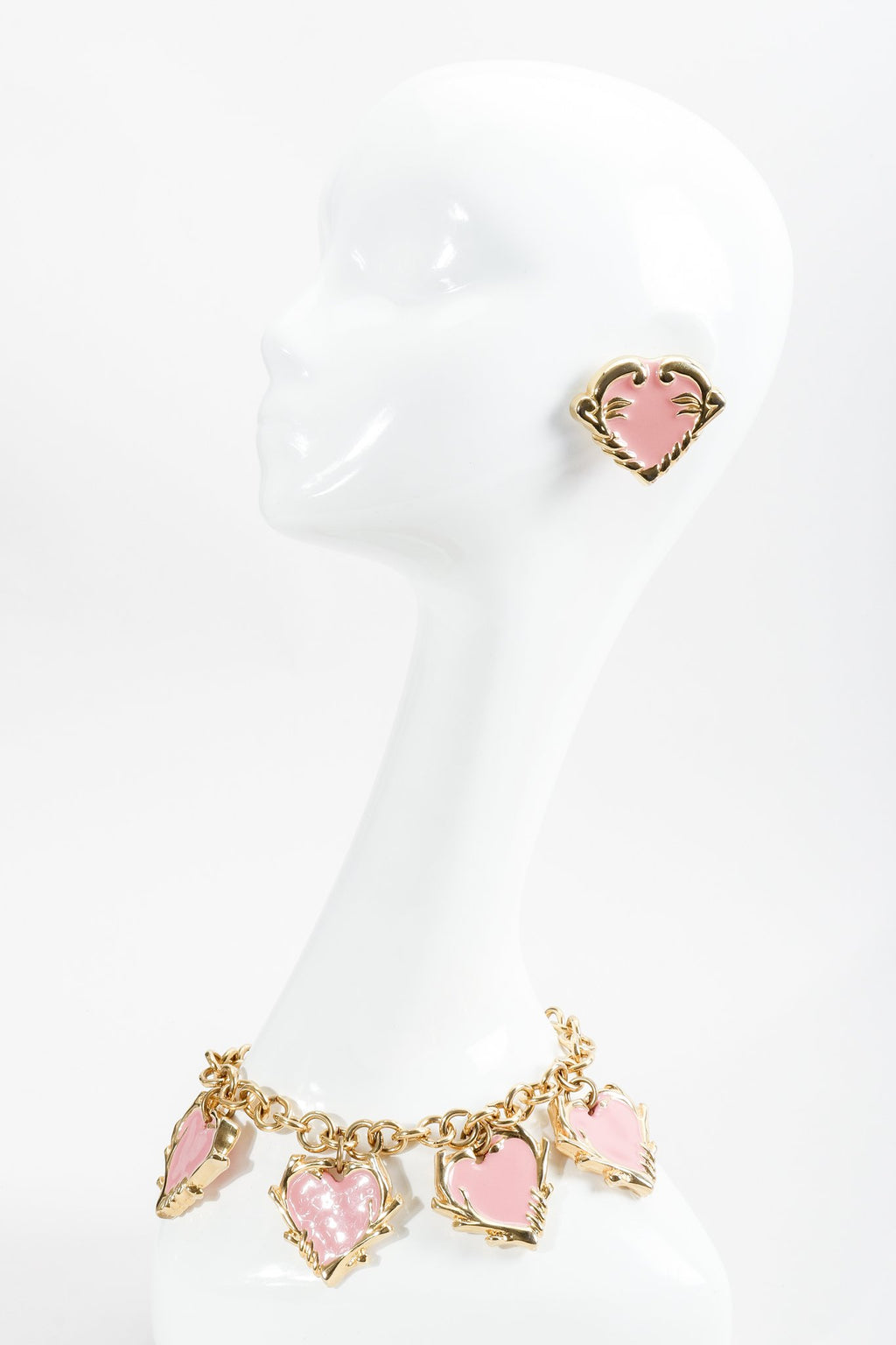 Vintage Escada Pink Enamel Heart Button Earrings and Necklace on mannequin at Recess Los Angeles