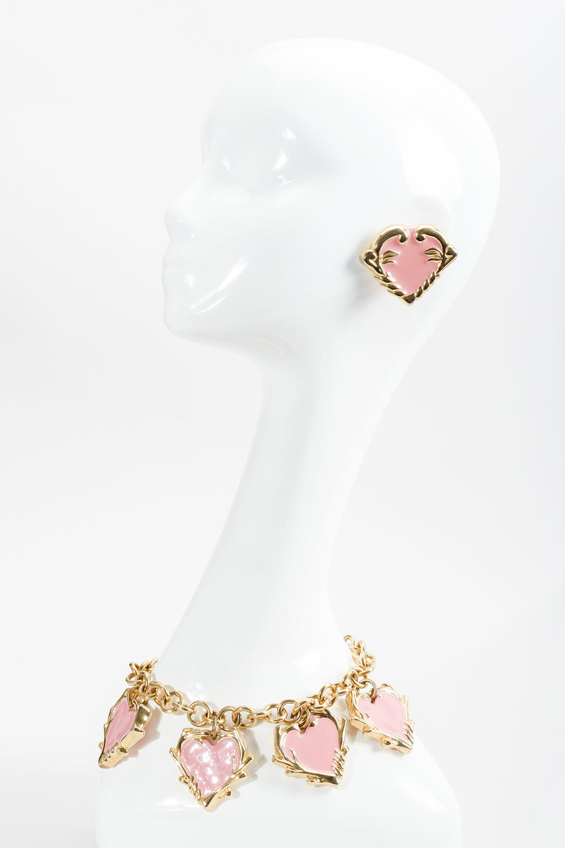 Vintage Escada Hearts Charm Necklace and earrings on mannequin at Recess Los Angeles