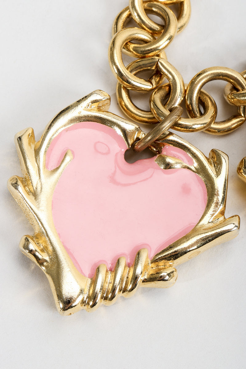 Vintage Escada Hearts Charm Necklace heart detail
