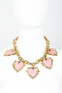 Vintage Escada Enamel Hearts Charm Necklace on mannequin front at Recess Los Angeles