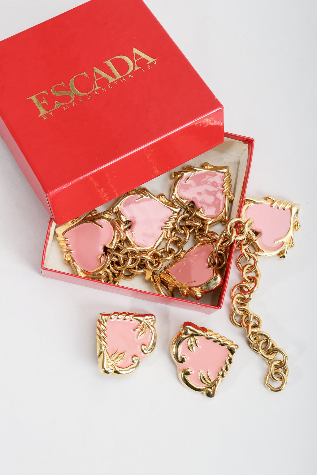 Vintage Escada Enamel Hearts Charm Necklace with box at Recess Los Angeles
