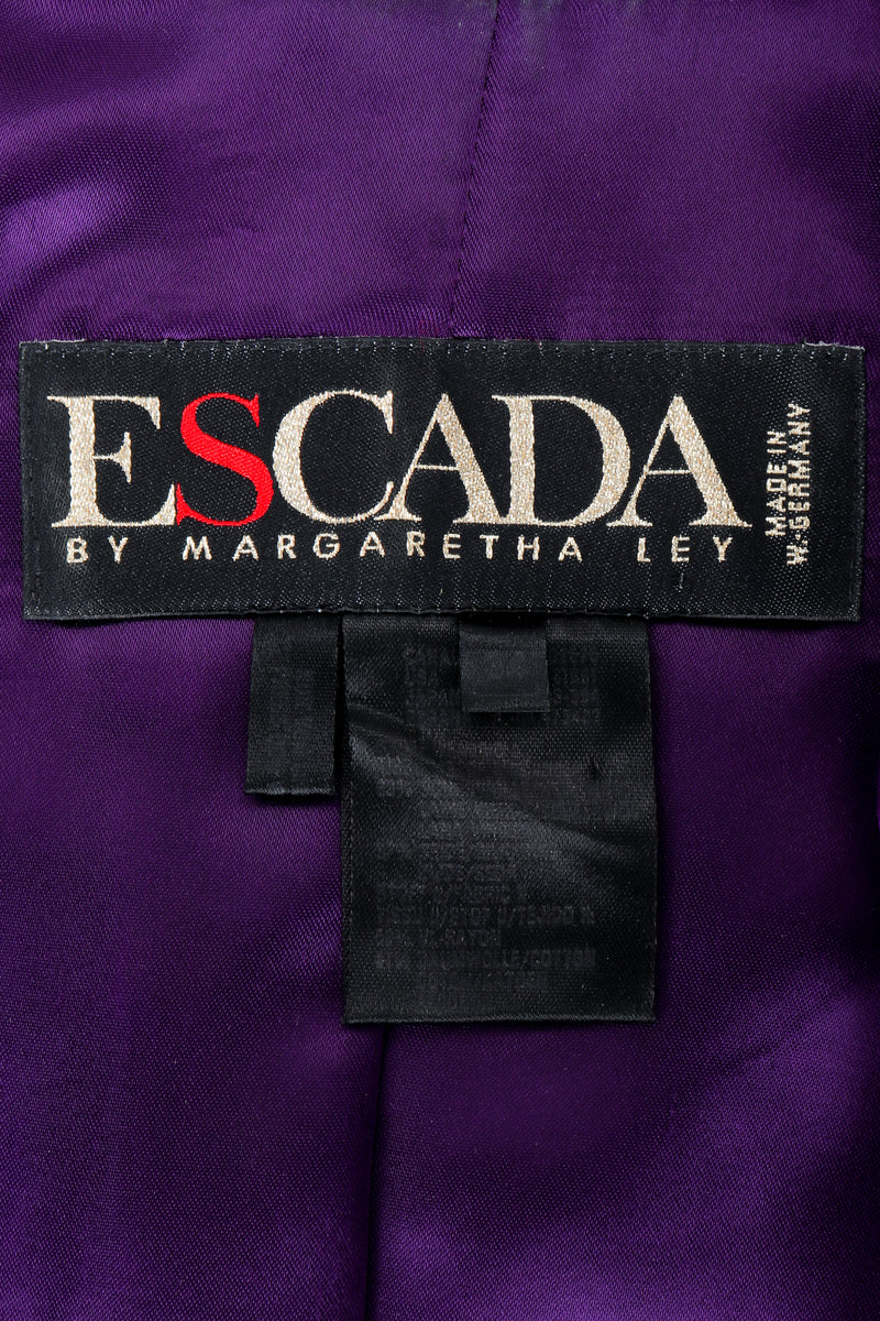 Vintage Escada Jacket Label on Purple