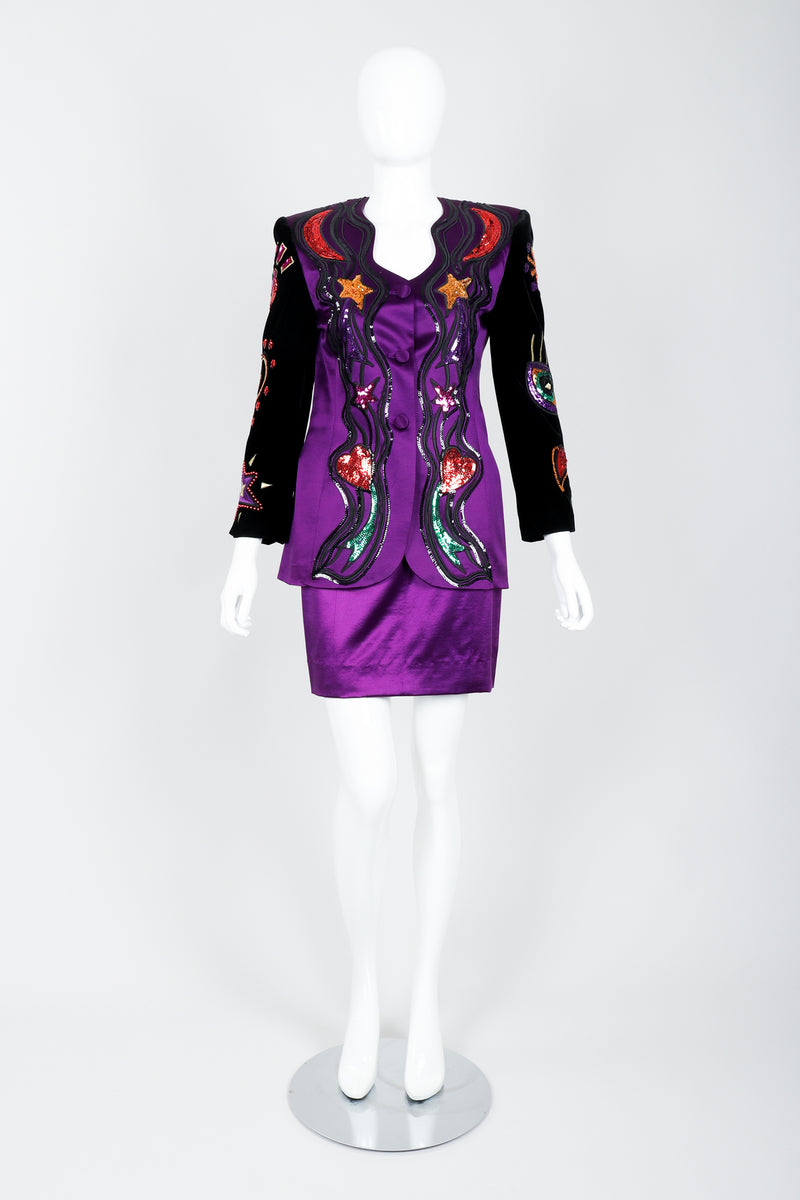 Vintage Escada Magical Embellished Satin Velvet Jacket & Skirt Suit on Mannequin Front at Recess