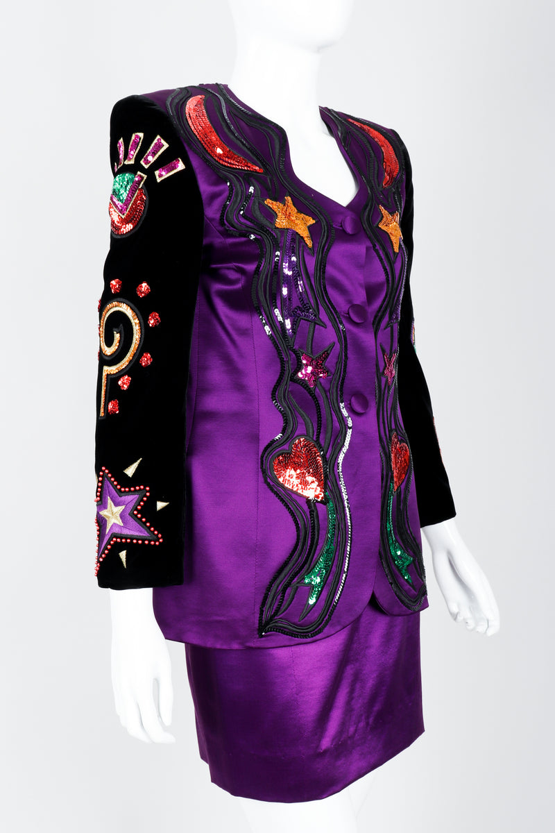 Vintage Escada Magical Embellished Satin Velvet Jacket & Skirt Suit on Mannequin Crop at Recess