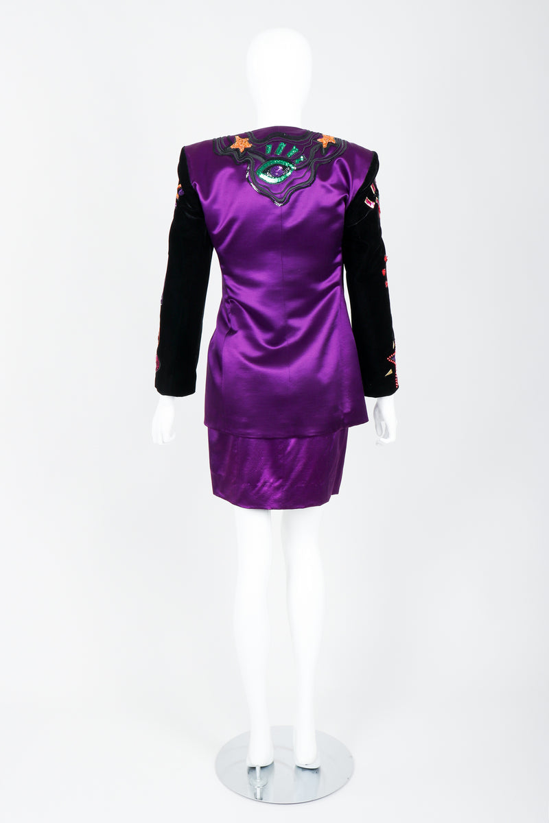 Vintage Escada Magical Embellished Satin Velvet Jacket & Skirt Suit on Mannequin Back at Recess
