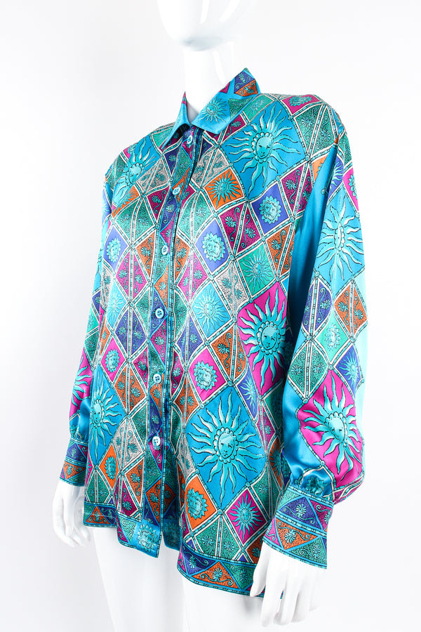 Vintage Escada Sol Goddess Mosaic Satin Shirt on Mannequin angle at Recess Los Angeles