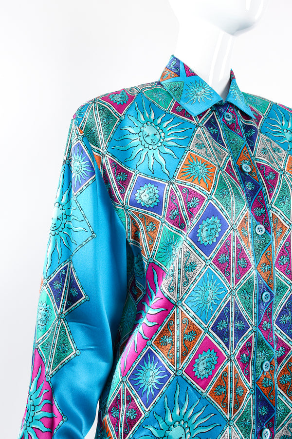 Vintage Escada Sol Goddess Mosaic Satin Shirt on Mannequin shoulder at Recess Los Angeles