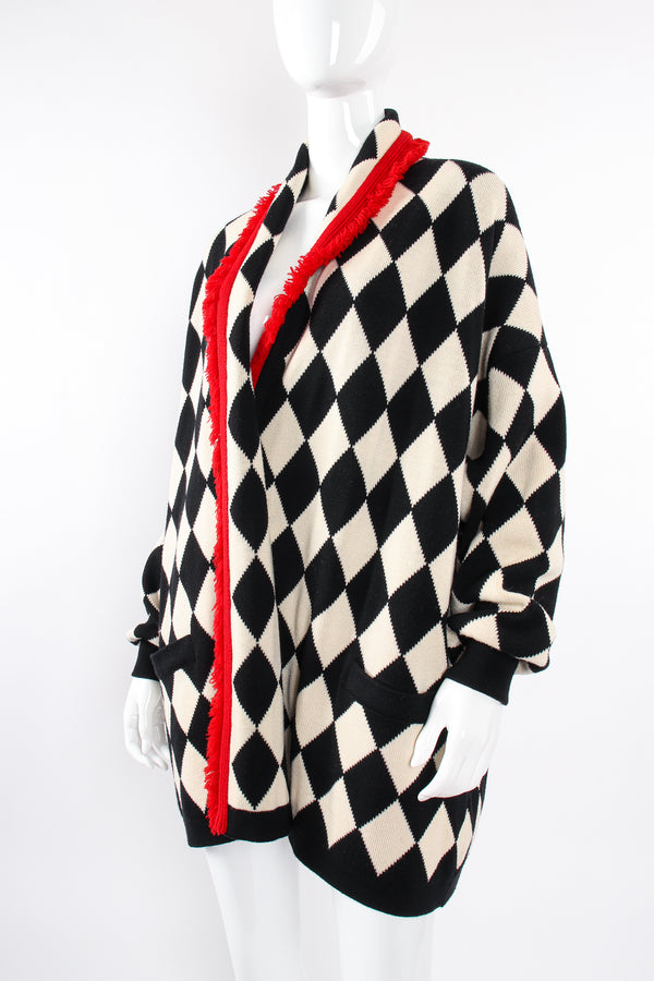 Vintage Escada Harlequin Knit Blanket Sweater on Mannequin crop at Recess Los Angeles