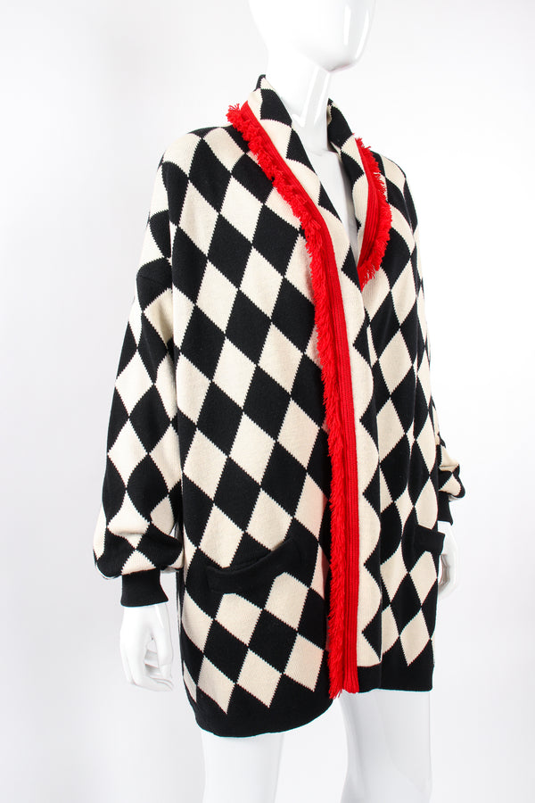 Vintage Escada Harlequin Knit Blanket Sweater on Mannequin angle at Recess Los Angeles