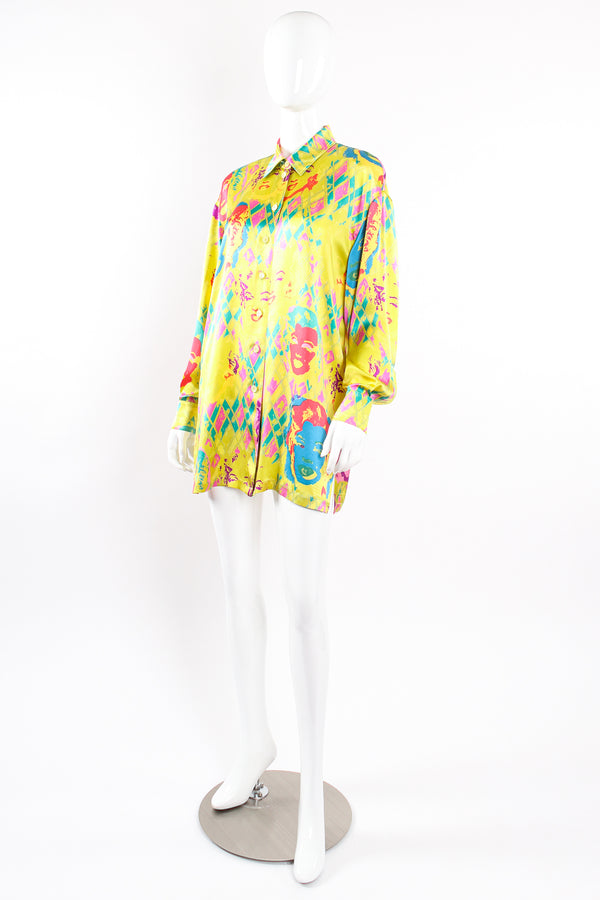 Vintage Escada Marilyn Monroe Silk Pop Art Shirt on Mannequin front crop at Recess Los Angeles