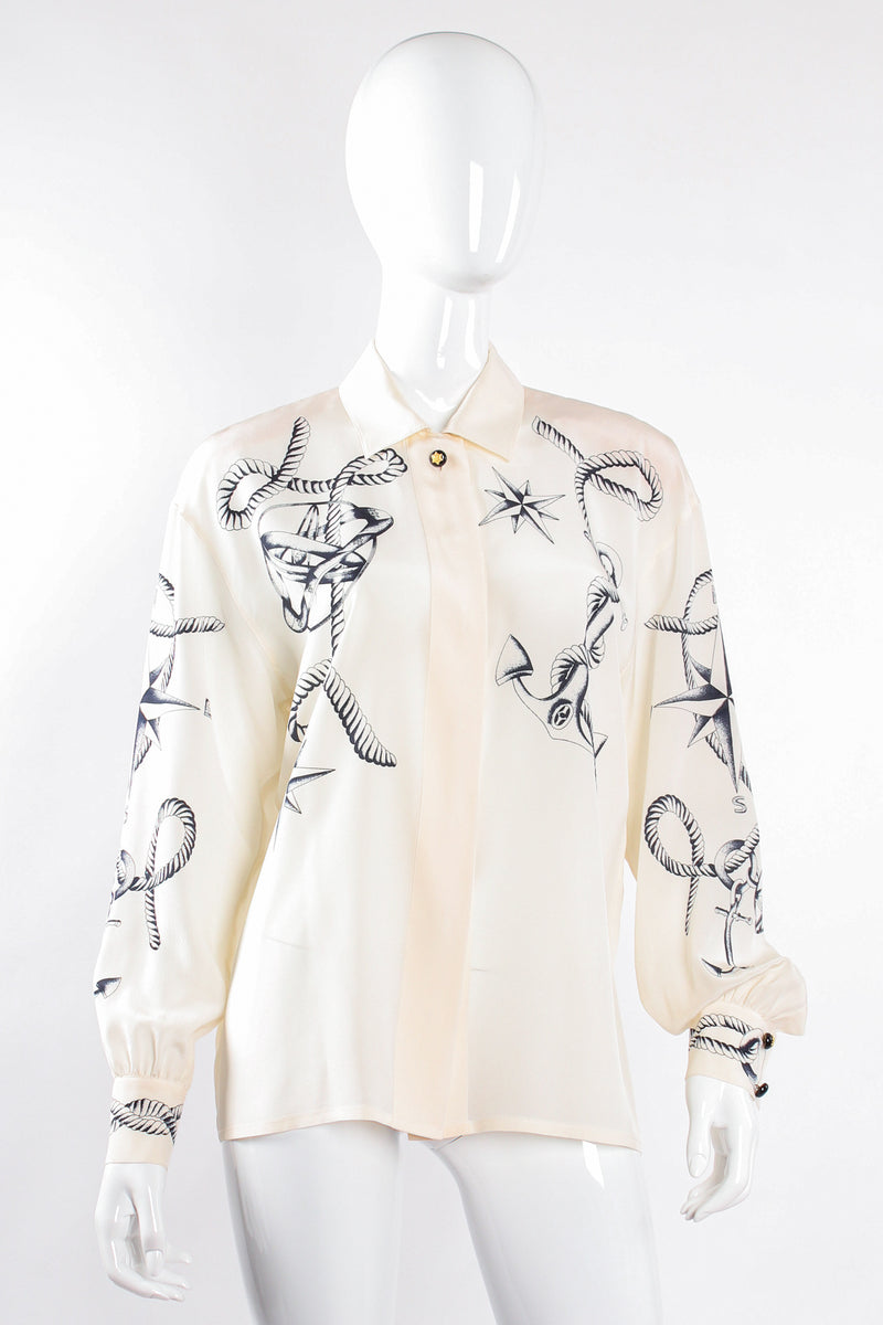 Vintage Escada Compass Star Nautical Satin Shirt on Mannequin front at Recess Los Angeles