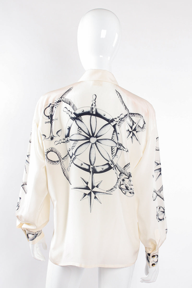 Vintage Escada Compass Star Nautical Satin Shirt on Mannequin back at Recess Los Angeles