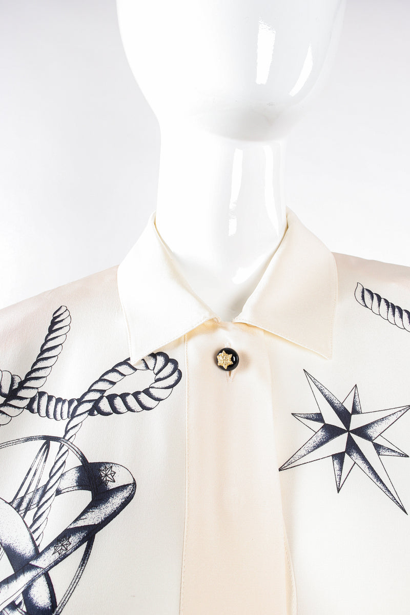 Vintage Escada Compass Star Nautical Satin Shirt on Mannequin collar at Recess Los Angeles