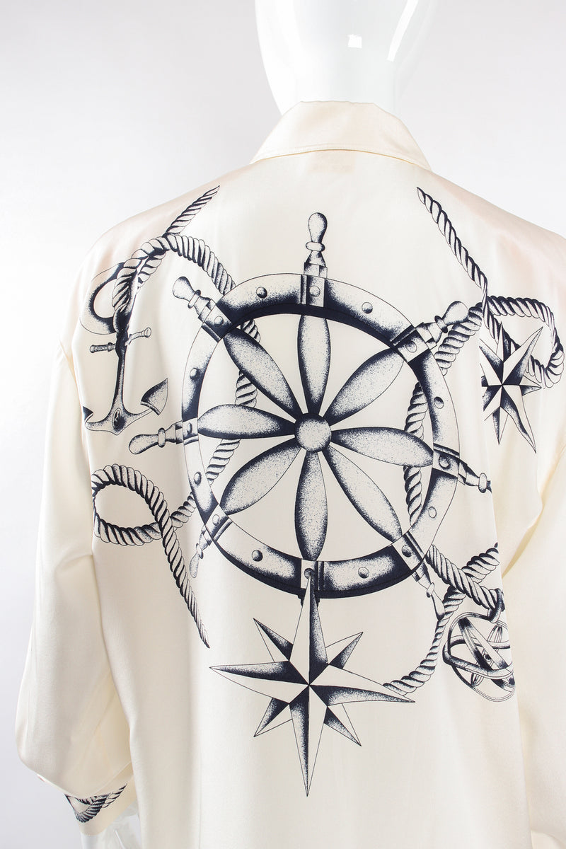 Vintage Escada Compass Star Nautical Satin Shirt on Mannequin back crop at Recess Los Angeles