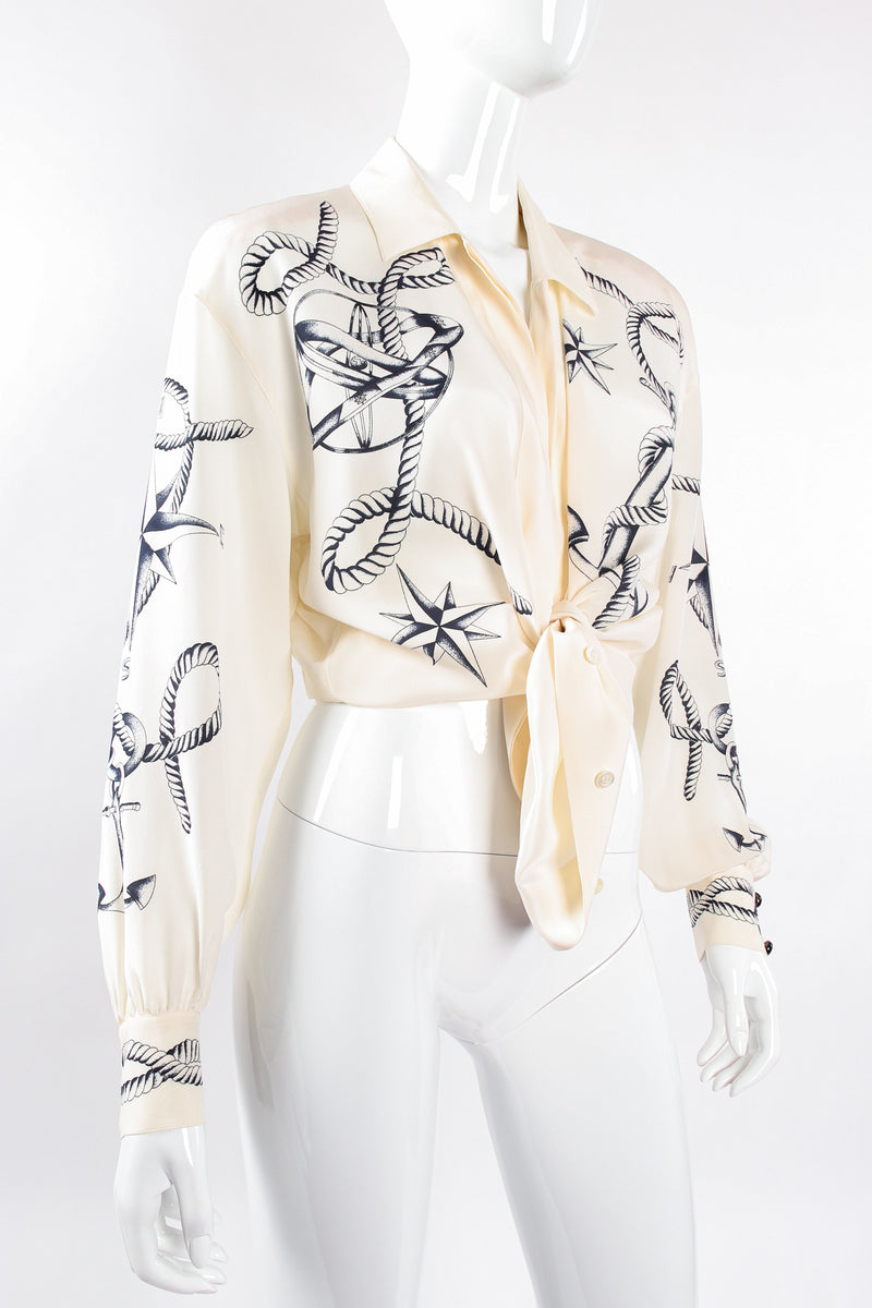 Vintage Escada Compass Star Nautical Satin Shirt on Mannequin tied at Recess Los Angeles