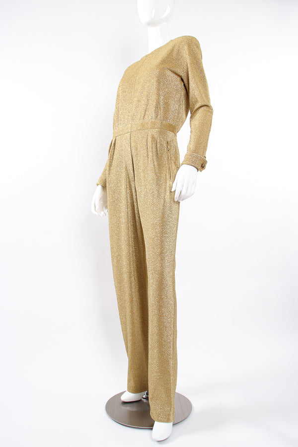 Vintage Escada Metallic Gold Lurex Jumpsuit on Mannequin front angle at Recess Los Angeles