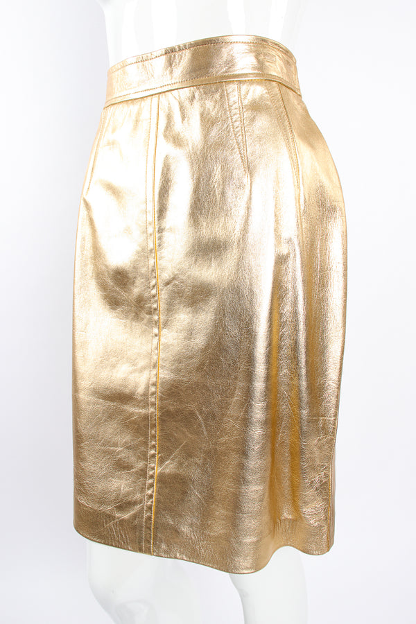 Vintage Escada Gold Leather Lamé Skirt on Mannequin front crop at Recess Los Angeles