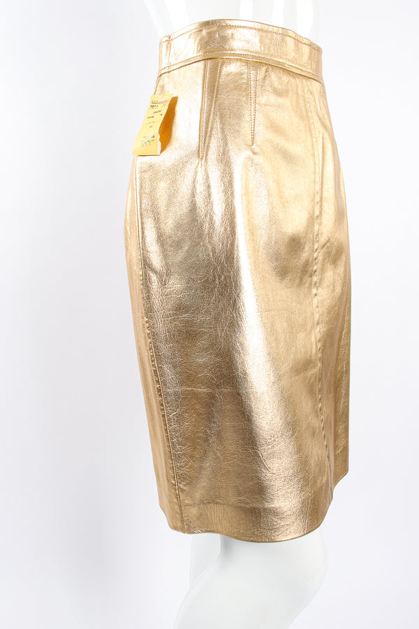 Vintage Escada Gold Leather Lamé Skirt on Mannequin front angle at Recess Los Angeles