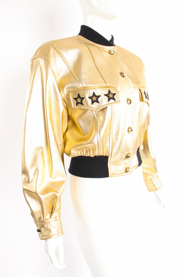 Vintage Escada Gold Star Leather Bomber Jacket on Mannequin angle at Recess Los Angeles