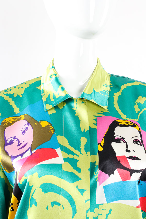 Vintage Escada Satin Silent Film Pop Art Shirt on Mannequin collar at Recess Los Angeles