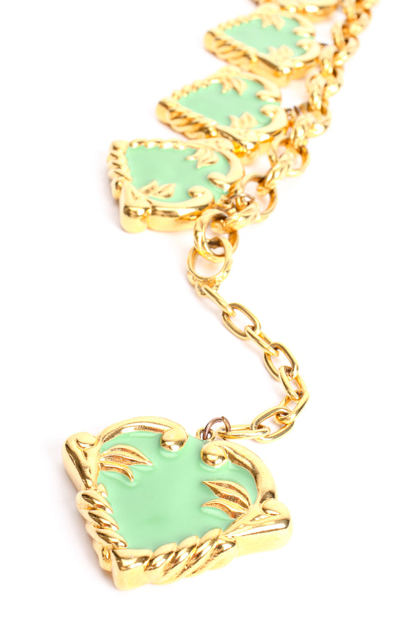 Vintage Escada Mint Enamel Hearts Charm Necklace at Recess Los Angeles